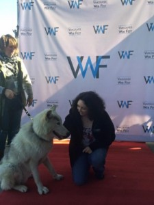 Author Kerry Gillard with Duma the wolf