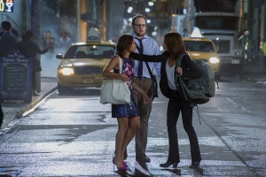 "Beauty and the Beast -- ""Beast of Times, Worst of Times"" -- Image Number: BB406b_0398.jpg -- Pictured (L-R): Nicole Gale Anderson as Heather, Austin Basis as JT and Kristin Kreuk as Catherine -- Photo: Michael Gibson/The CW -- © 2016 The CW Network, LLC. All rights reserved."